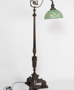 Carved Antique Wooden Bridge Lamp With Green Stained Glass Shade
