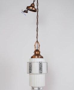 Art Deco Milk Glass Pendant with Copper Fixture