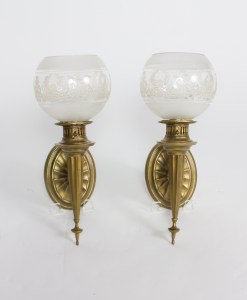 Pair Federal Sconces with Original Round Glass Shades