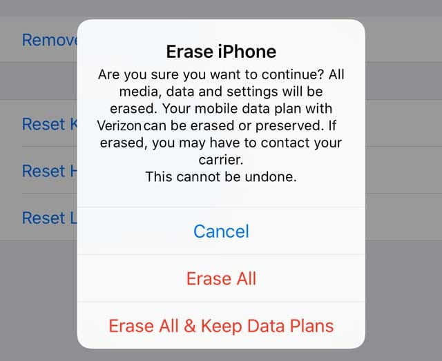 iPhone with eSIM erase options in settings reset app