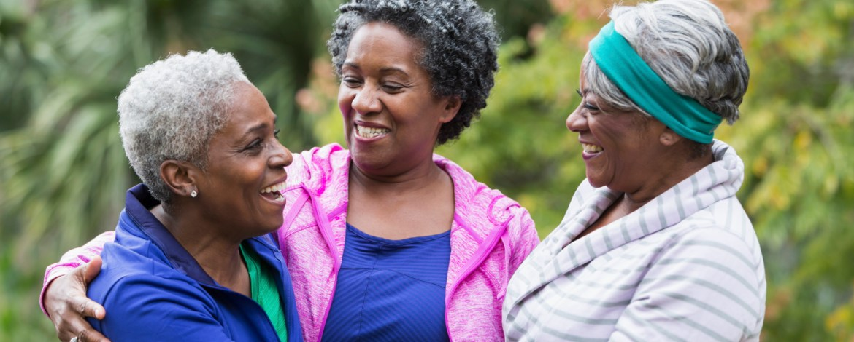 Three African American senior women talking