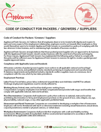 Code of Conduct for Packers / Growers / Suppliers