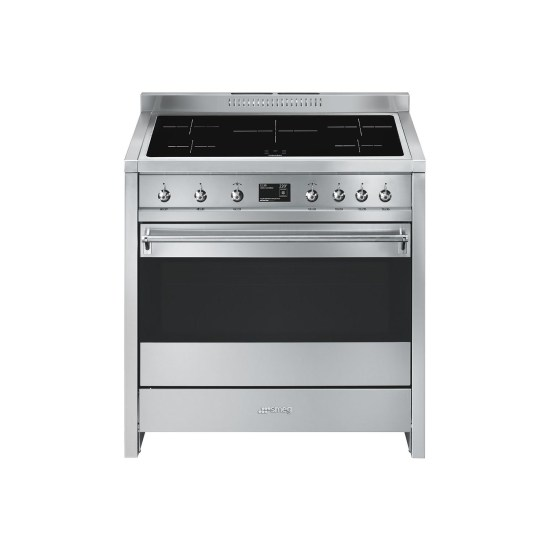Smeg A1PYID-9 Opera 90cm Electric Stainless Steel Self Cleaning Range Cooker With Induction Hob