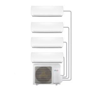 Multi-split 4-Way WiFi Ready Inverter Wall Air Conditioner System with four 9000 BTU indoor units to a single outdoor
