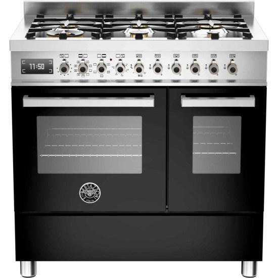 Bertazzoni PRO90-6-MFE-D-NET Professional Series 90cm Black Dual Fuel Double Oven Range Cooker