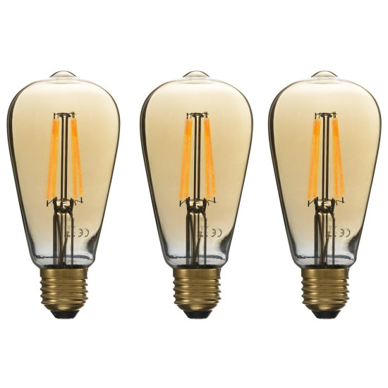 electriQ Smart dimmable Wifi filament bulb with E27 screw fitting - 3 Pack
