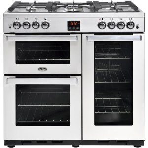Belling Cookcentre90GProf 90cm Gas Range Cooker with Electric Fan Oven - Stainless Steel - B/A Rated