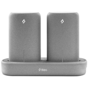 ttec PowerStones Trio Powerbank Set - 2 x 5000mAh - Grey w/Charging Dock