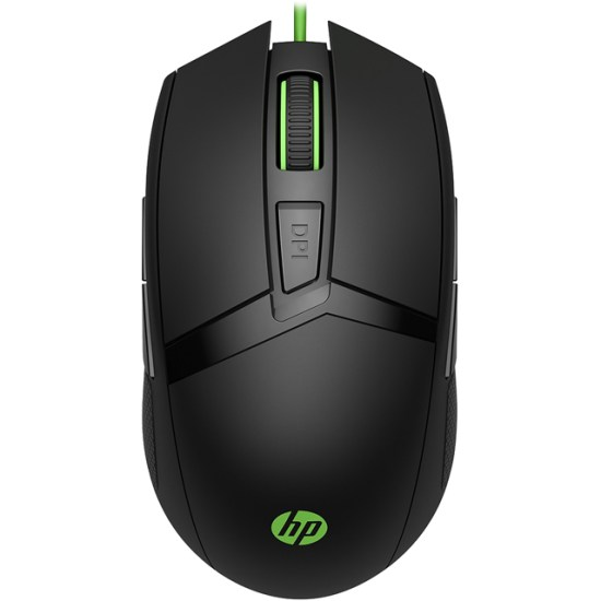 HP Pavilion 300 Wired USB Optical Mouse - Black / Green