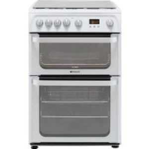 Hotpoint Ultima HUG61P 60cm Gas Cooker with Variable Gas Grill - White - A+/A Rated   AO SALE
