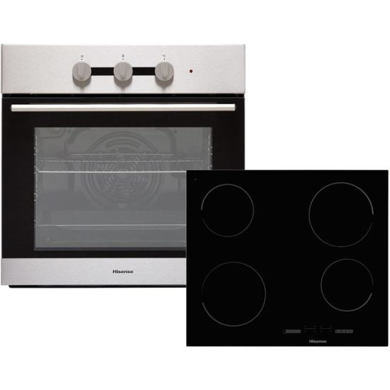 Hisense BI6031CXUK Built In Electric Single Oven and Ceramic Hob Pack - Stainless Steel / Black - A Rated AO SALE