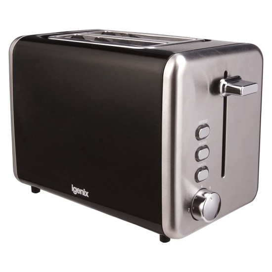 Igenix IG3000B 2-Slice Deep Slot 850W Stainless Steel Toaster - Black