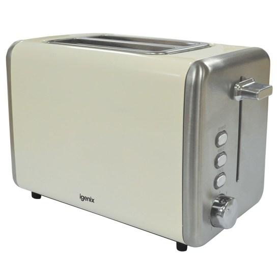 Igenix IG3000C 2-Slice Deep Slot 850W Stainless Steel Toaster - Cream