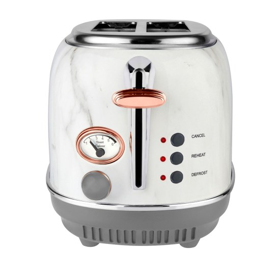 Tower T20016WMRG 810W 2-Slice Stainless Steel Toaster - White and Marble
