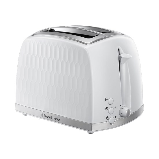 Russell Hobbs 26060 Honeycomb Textured 850W 2-Slice Toaster - White