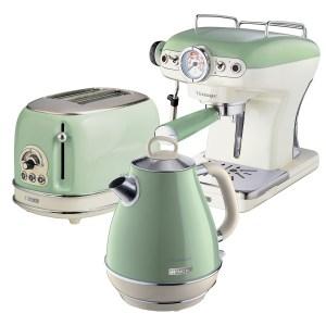 Ariete ARPK5 Vintage 2-Slice Toaster, 1.7L Fast Boil Jug Kettle, and Espresso Coffee Maker - Green