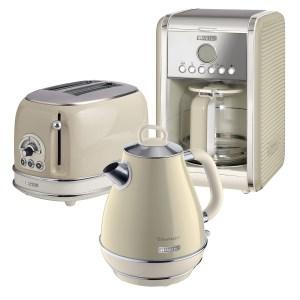 Ariete ARPK7 Vintage 2-Slice Toaster, 1.7L Fast Boil Jug Kettle, and 12-Cup Filter Coffee Maker - Cream