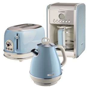 Ariete ARPK9 Vintage 2-Slice Toaster, 1.7L Jug Kettle, and 12-Cup Filter Coffee Maker - Blue