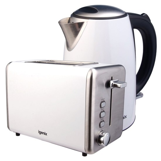 Igenix IGPK25 1.7L Stainless Steel Kettle and 2-Slice Toaster - White