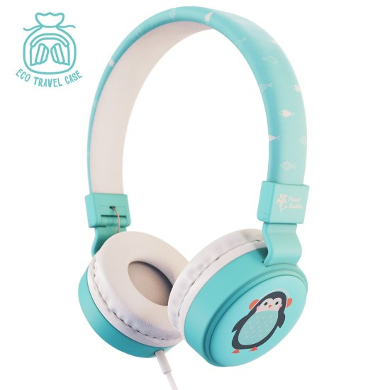 Planet Buddies Pepper the Penguin Wired Kids Headphones - Blue