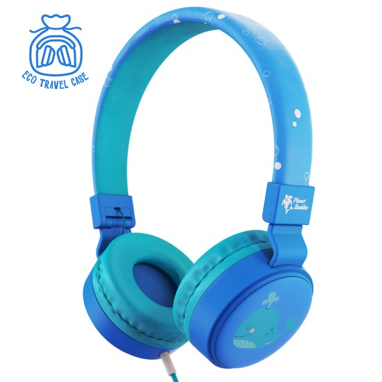Planet Buddies Noah the Whale Wired Kids Headphones - Blue