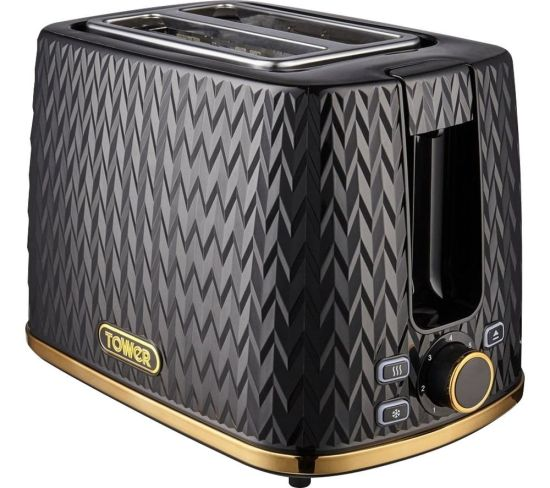 TOWER Empire Collection T20054BLK 2-Slice Toaster – Black, Black