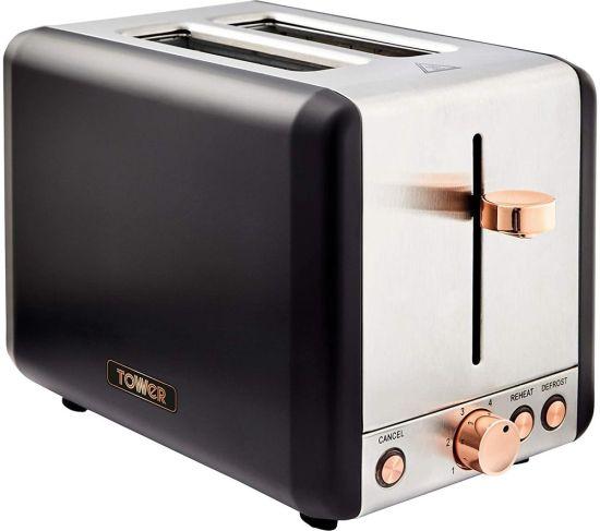 TOWER Cavaletto T20036RG 2-Slice Toaster - Black & Rose Gold, Black