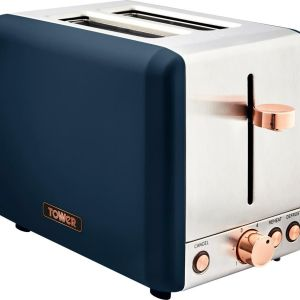 TOWER Cavaletto T20036MNB 2-Slice Toaster - Blue & Rose Gold, Blue