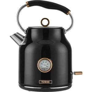 TOWER Bottega T10020 Traditional Kettle - Black & Rose Gold, Black