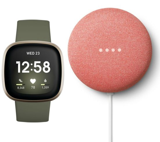 """FITBIT Versa 3 & Coral Google Nest Mini (2nd Gen) Bundle - Soft Gold & Coral, Coral FITBIT Versa 3 & Coral Google Nest Mini (2nd Gen) Bundle - Soft Gold & Coral, Coral Shop The Very Best FitBit Sale Deals Online at <a href=""""http://Appliance-Deals.com"""">Appliance-Deals.com</a> <a href=""""https://www.awin1.com/cread.php?awinmid=1599&awinaffid=792795&ued=https%3A%2F%2Fcurrys.co.uk""""><img class="""" wp-image-9780000159235 aligncenter"""" src=""""https://appliance-deals.com/wp-content/uploads/2021/03/curryspcworld_500x500_thumb.png"""" alt=""""fitbit Appliance Deals"""" width=""""112"""" height=""""112"""" /></a>"""