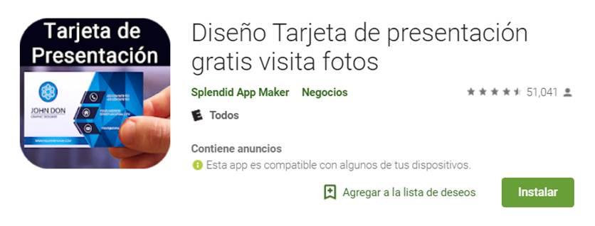 app diseño tarjeta de presentación - visita gratis en google play