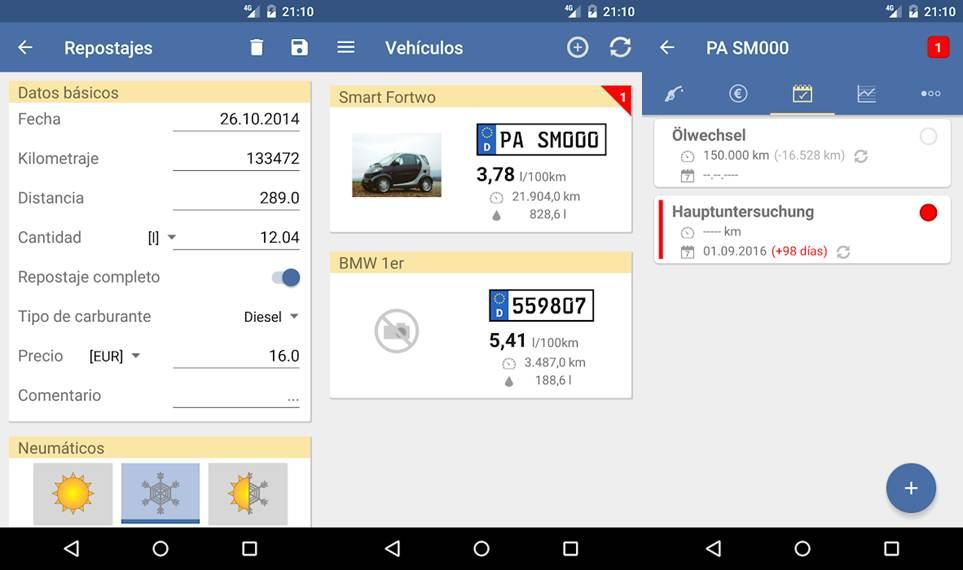 interfaz de configuración de la app spritmonitor
