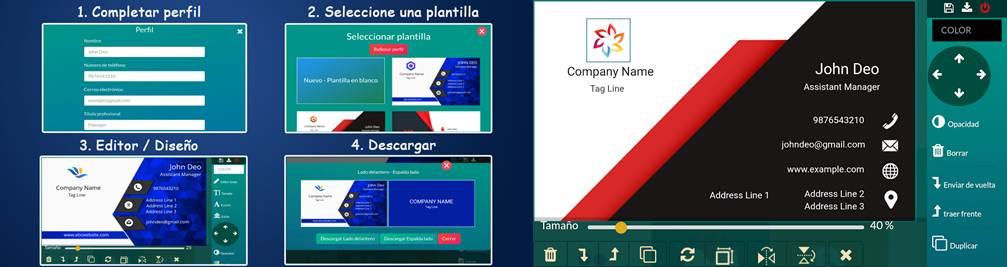 opciones de trabajo y escritorio de la app diseño tarjeta de presentación - visita gratis