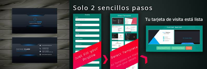 publicidad y modelo de tarjeta de presentación en la app