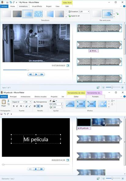 interfaz de windows movie maker