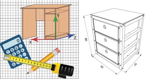 logo de caja creador y plano de gabinete