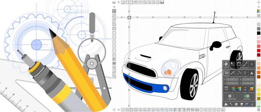 logo y diseño de coche con la aplicación