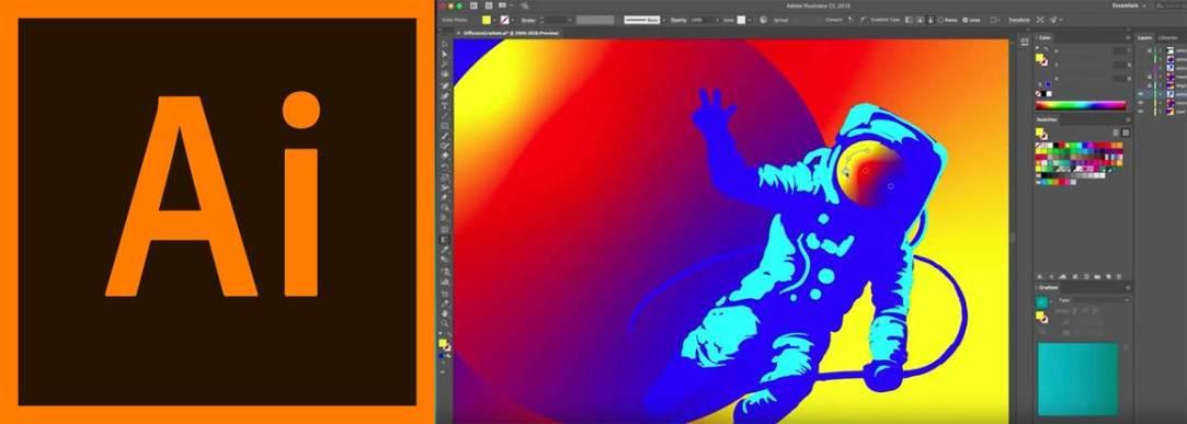 logo e interfaz del programa adobe illustrator