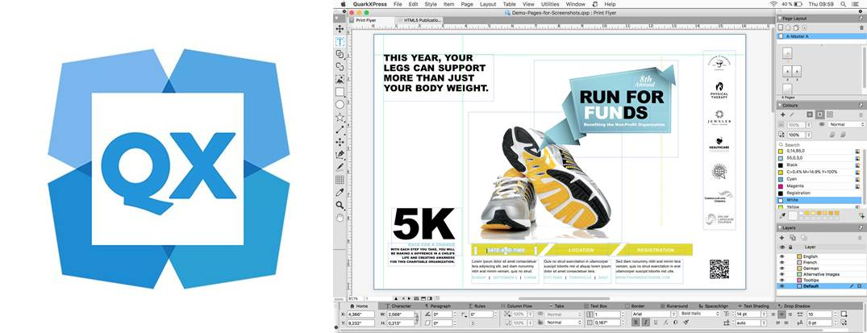 logo e interfaz del programa para hacer revistas quarkxpress