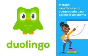 logo y publicidad de duolingo