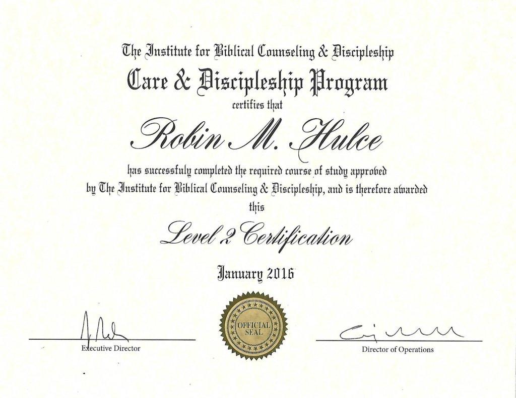 IBCD Level 2 Certification Robin Hulce