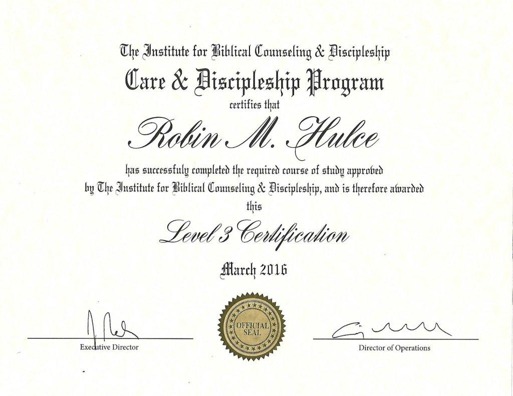 IBCD Level 3 Certification Robin Hulce