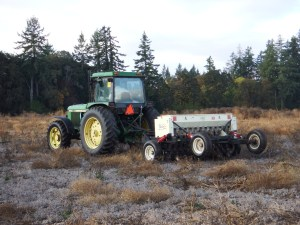 Tractor and no-till drill at Herbert Farm and Natural Area