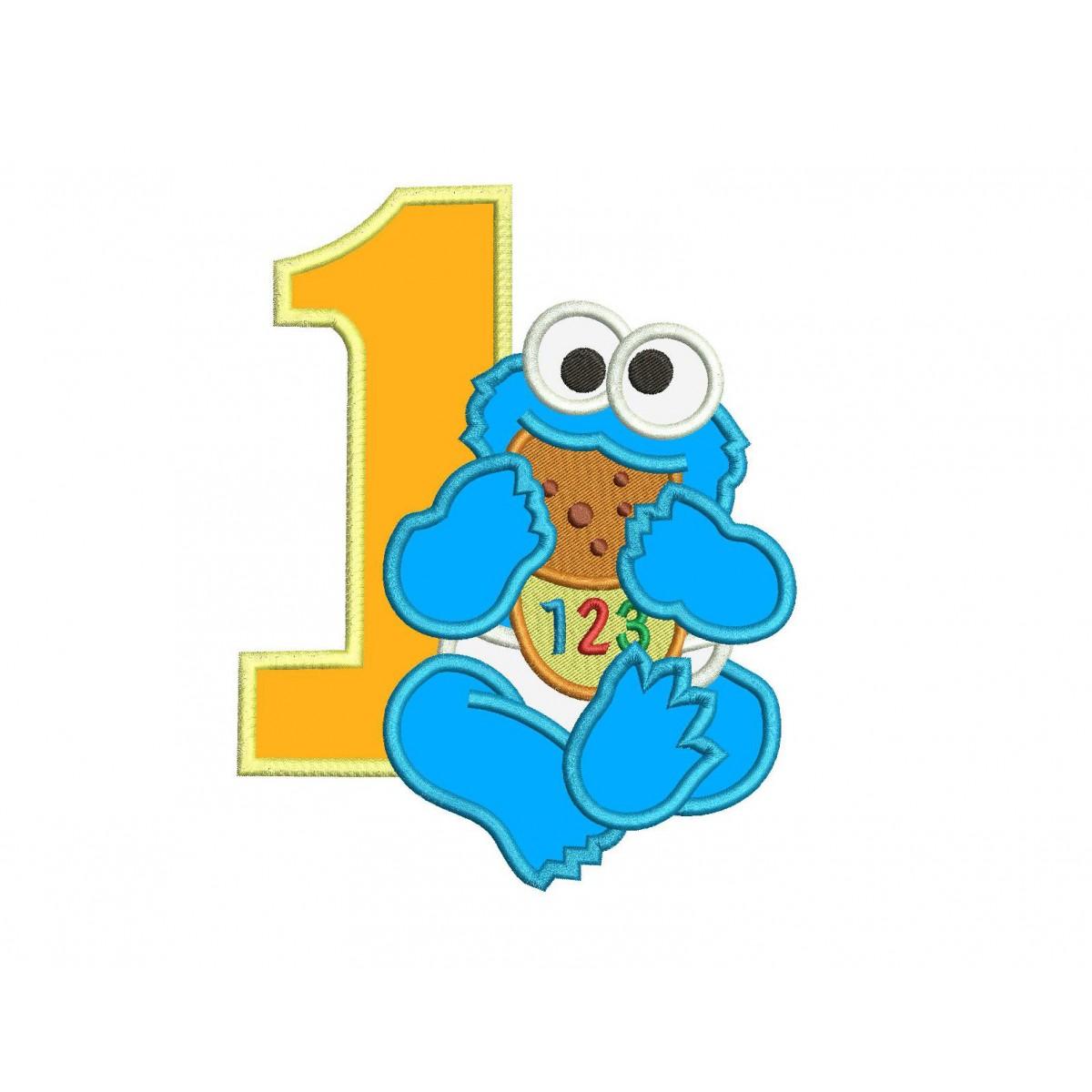 Baby Cookie Monster 1st Birthday Applique Design