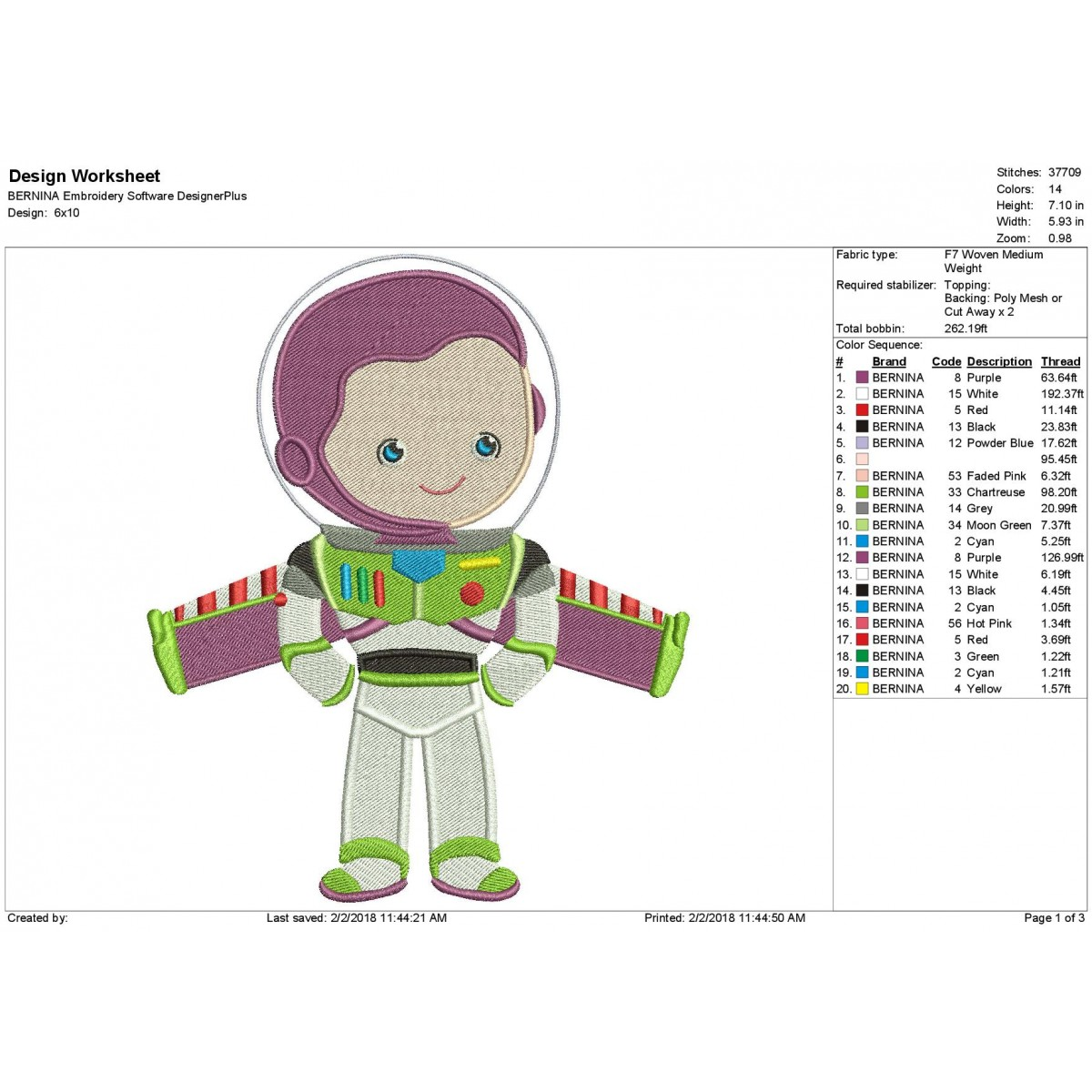 Buzz Lightyear Toy Story Embroidery Design