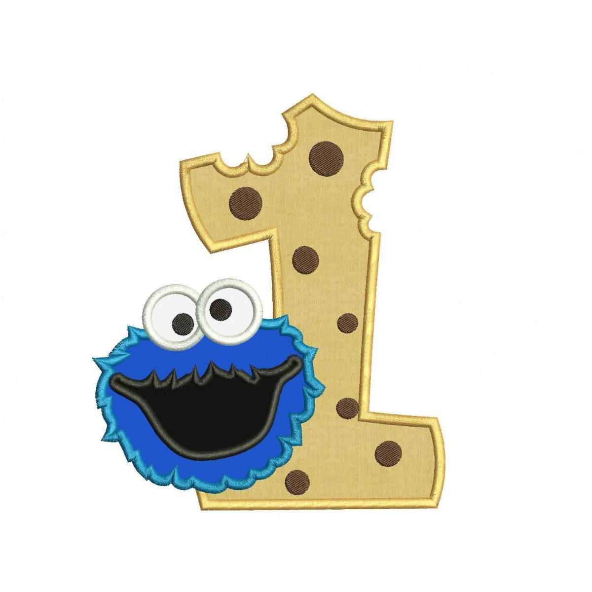 Cookie Monster 1st Birthday Applique Design Cookie Monster Applique