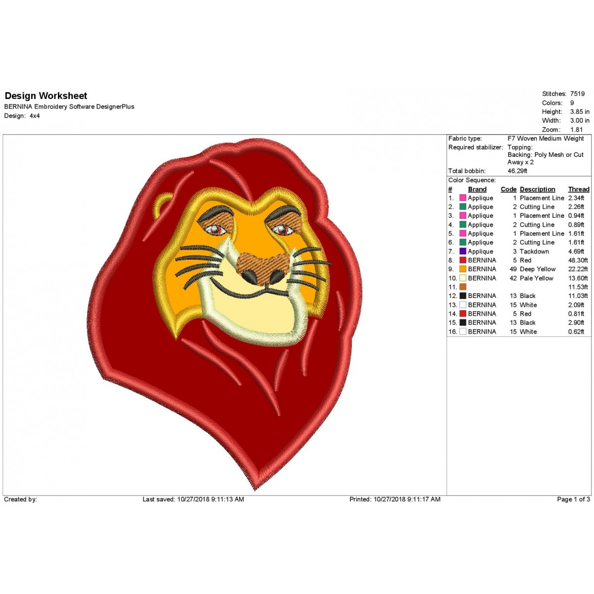 Lion King Mufasa Applique Design