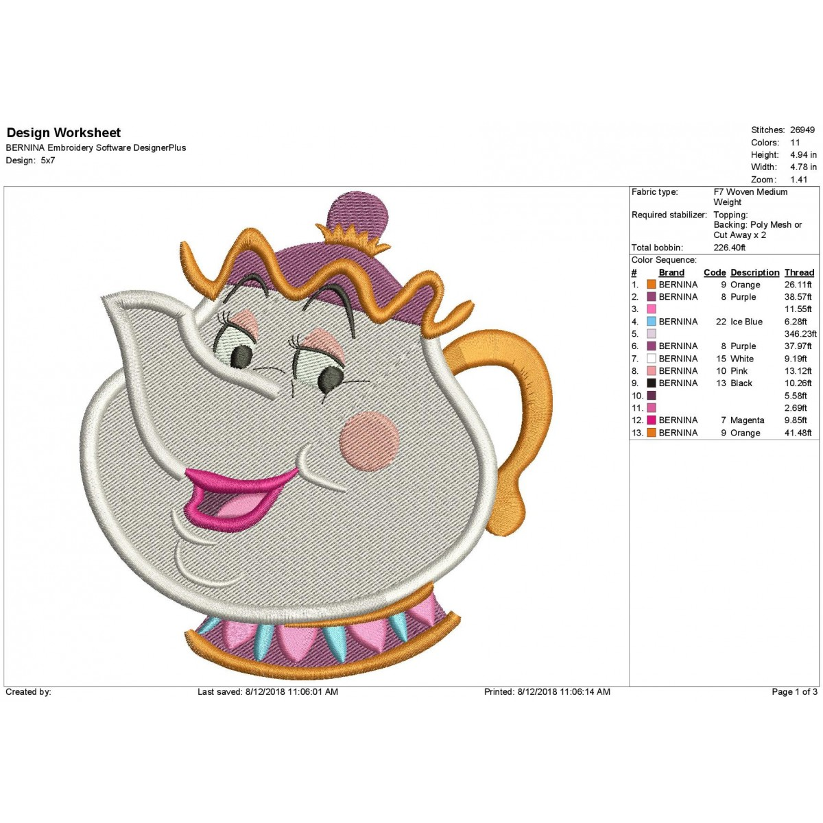 Mrs Potts Beauty And The Beast Embroidery Design