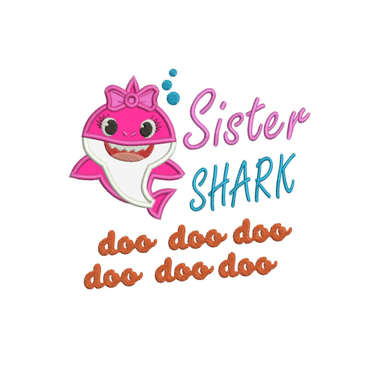 Sister Shark Applique Shark Family Doo Doo Applique Design