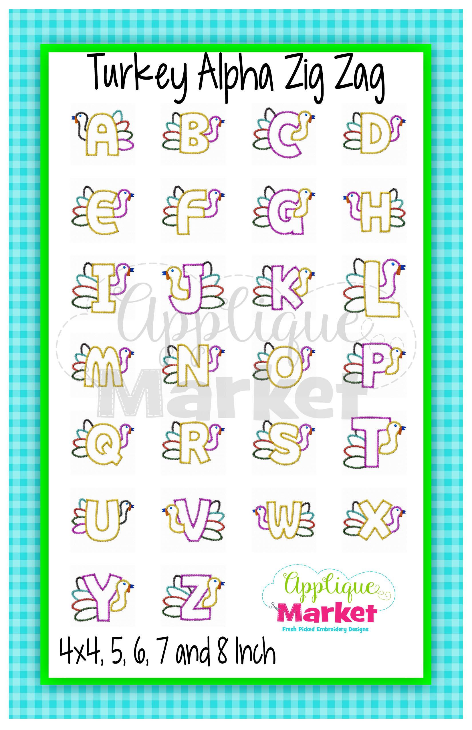 Turkey Applique Alphabet Zig Zag